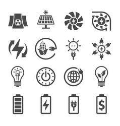 electricity ecology and energy icon set icon vector image