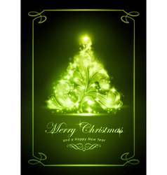 Elegant green Christmas card vector image
