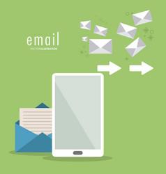 Envelope arrow smartphone email icon vector