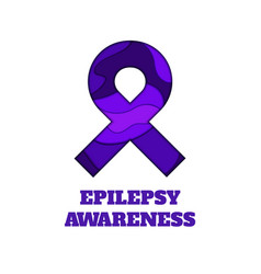 epilepsy awareness papercut ribbon vector image