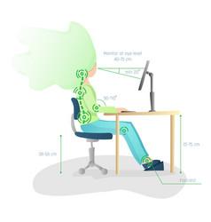 Ergonomic healthy correct sitting spine posture vector