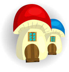 fairy house mushroom on a white background vector image