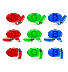 Felt tip pen speech symbol rgb v vector