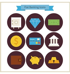Flat Finance and Banking Icons Set vector image