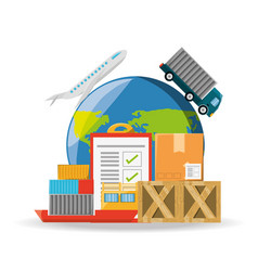 flat set icon logistic shipping vector image