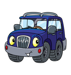 Funny offroader with eyes vector