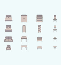 furniture icons set 02 vector image
