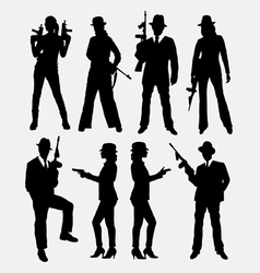 Gangster with gun weapon silhouette vector