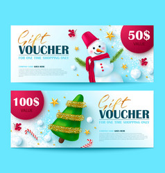 gift voucher for christmas and new year sale vector image