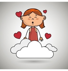 girl cloud heart love vector image