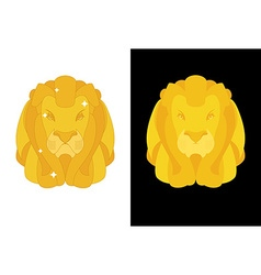 Gold Lion Predators head with mane of yellow vector