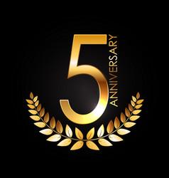 Golden template logo 5 years anniversary vector