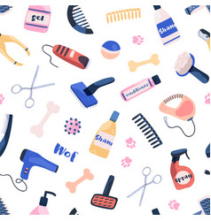 Grooming equipment for pet care salon seamless vector