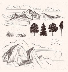 Hand drawing mountain range peaks clouds vector