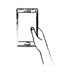 Hand holding smartphone application digital vector