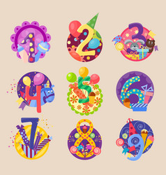 Happy birthday celebration 1-10 age number letters vector
