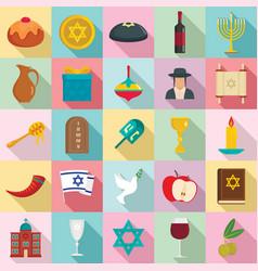 happy hanukkah icon set flat style vector image