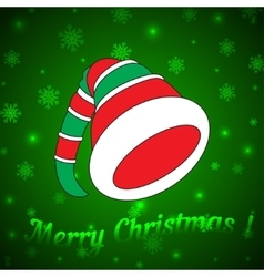 Hat of the Christmas Elf on a green background vector image