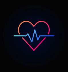 heart cardiogram colored icon - heartbeat vector image