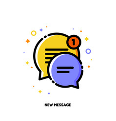 icon of two cute speech bubbles for new message vector image