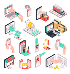 Isometric e-commerce shopping set vector