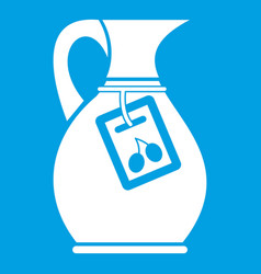 Jug with olive oil icon white vector