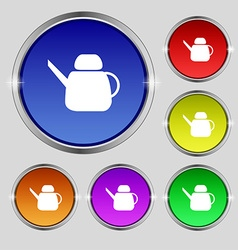 Kettle Icon sign Round symbol on bright colourful vector