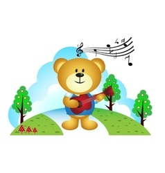 Little bear playing guitar in the park vector image