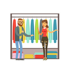 Man choosing clothing with shop assistant help vector