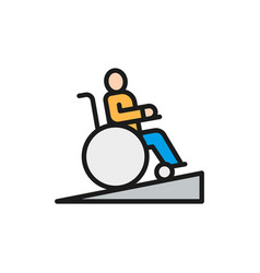 Man in wheelchair people with mobility problems vector