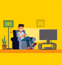 man watching tv on sofa in home interior vector image
