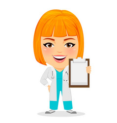 medical doctor woman holding clipboard funny vector image