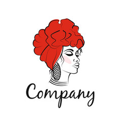 modern african woman logo vector image