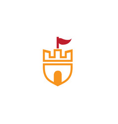 Old castle tower in a shield symbol with a flag vector
