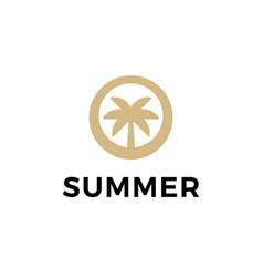 palm beach summer symbol web icon logo template vector image