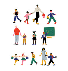 parents and their children walking to school in vector image