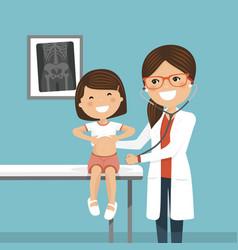 pediatrician woman doctor examining a little girl vector image