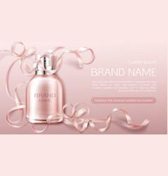 perfume bottle flower fragrance cosmetic design vector image