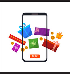 phone gadget with different gifts presents vector image