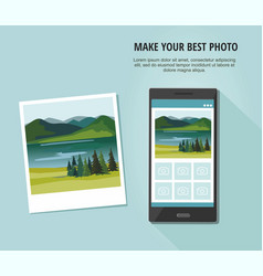 photo of landscape with smartphone vector image