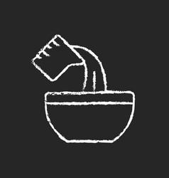 Pour cooking ingredient chalk white icon on dark vector