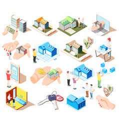 real estate augmented reality isometric icon set vector image