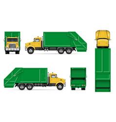 Realistic garbage truck mockup vector