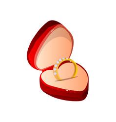 red velvet opened gift box with diamond ring vector image