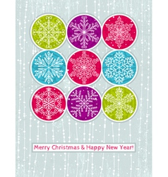 retro christmas background with hand draw snowflak vector image