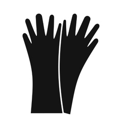 Rubber gloves black simple icon vector image