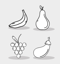 Set fresh organ fruit and vegetables vector