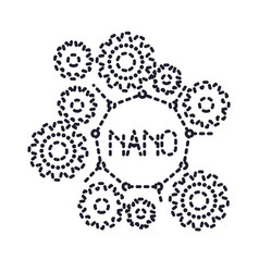 set gear machinery with nano molecular structure vector image
