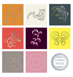 set of flat design elements in vintage style vector image