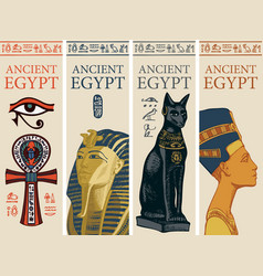 set travel banners with egyptian symbols vector image
